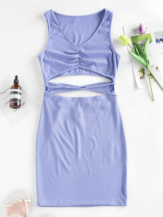 hot ZAFUL Ribbed Cutout Straps Bodycon Tank Dress - LIGHT BLUE M