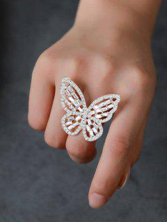 Rhinestone Butterfly Hollow Open Ring - Silver