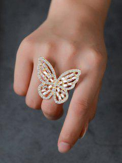 Rhinestone Butterfly Hollow Open Ring - Golden