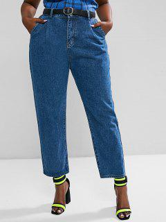 Jeans Talla Extra Bordado Trapecio - Azul Profundo 2xl