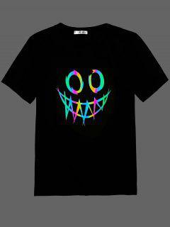 ZAFUL Face Print Reflective T-shirt - Black M