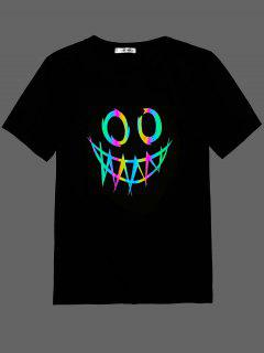 ZAFUL Face Print Reflective T-shirt - Black Xxl