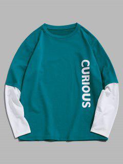 ZAFUL Letters Print Doctor Sleeve Sweatshirt - Light Green M
