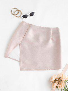 Metallic Thread Slit Short Skirt - Light Pink S