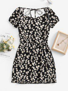 Daisy Floral Cutout Backless Tied Dress - Black M