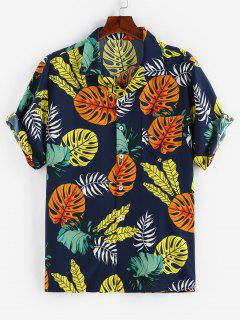 ZAFUL Tropical Leaves Print Short Sleeve Pocket Shirt - Deep Blue L