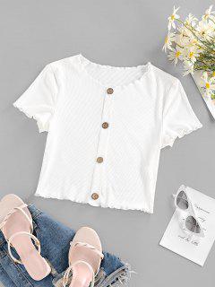 ZAFUL Ribbed Lettuce Trim Mock Button Crop T Shirt - White M