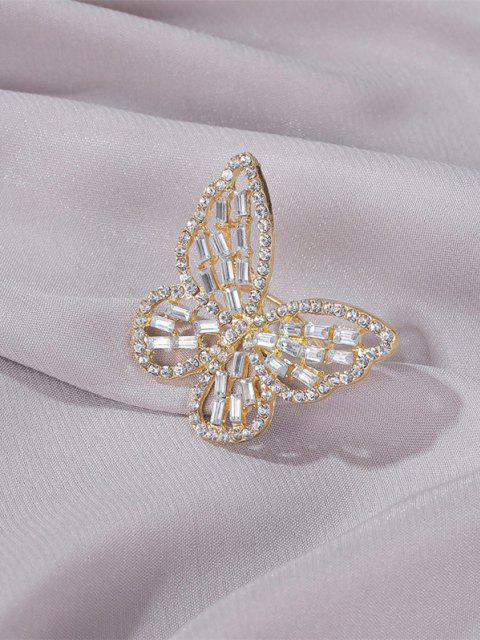 women Rhinestone Butterfly Hollow Open Ring - GOLDEN  Mobile