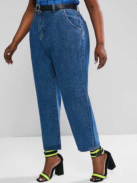 outfit Plus Size Trapeze Mom Jeans - DEEP BLUE 3XL Mobile