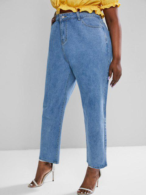 shop Plus Size High Waisted Zipper Fly Wide Leg Jeans - BLUE 2XL Mobile