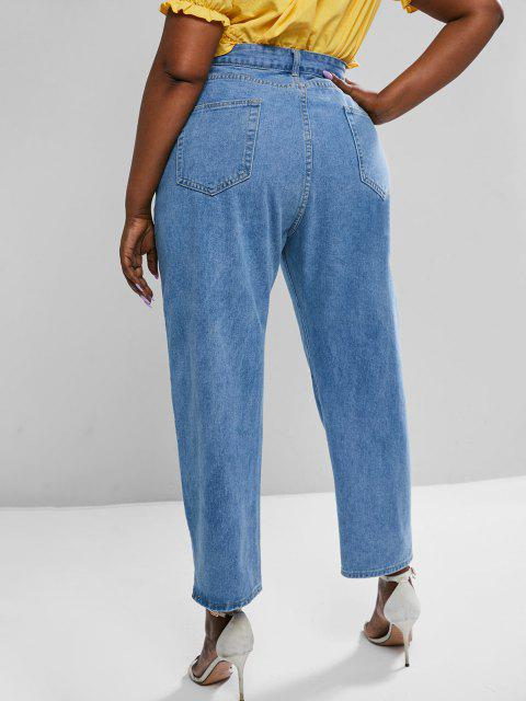 Jean Zippé Jambe Large à Taille Haute de Grande Taille - Bleu L Mobile