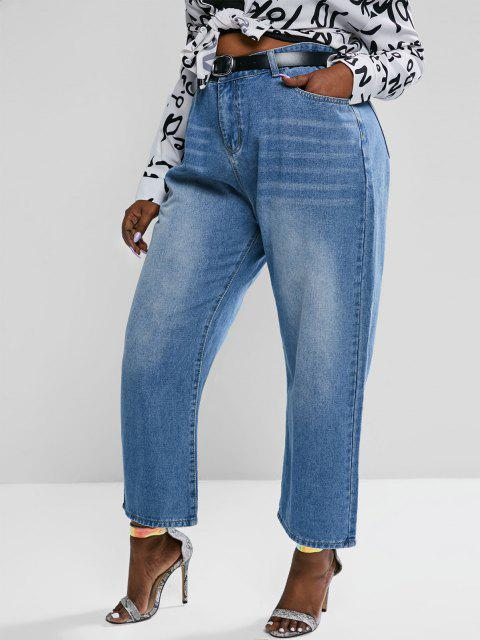 latest Plus Size High Waisted Light Wash Straight Leg Jeans - BLUE 2XL Mobile