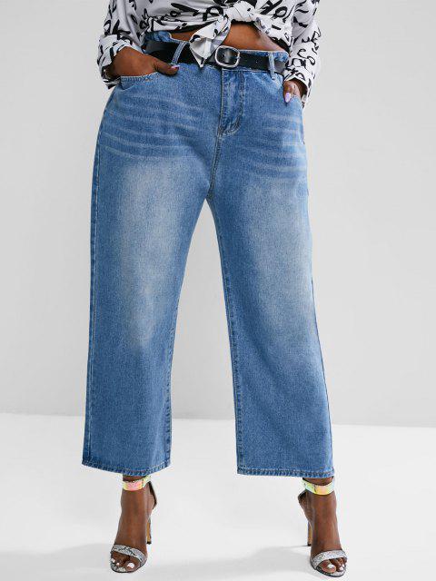 fashion Plus Size High Waisted Light Wash Straight Leg Jeans - BLUE 4XL Mobile