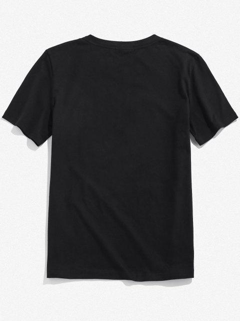 ZAFUL Gesichts Druck Reflektierende T-Shirt - Schwarz M Mobile