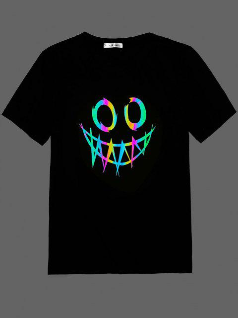 ZAFUL Face Print Reflective T-shirt - أسود L Mobile