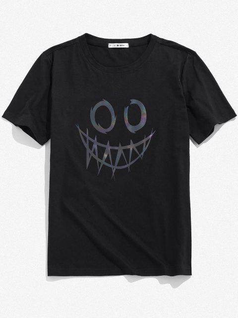 ZAFUL Face Print Reflective T-shirt - أسود XL Mobile