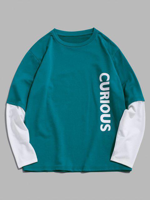 lady ZAFUL Letters Print Doctor Sleeve Sweatshirt - LIGHT GREEN S Mobile