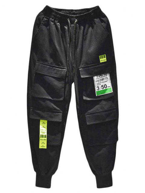 womens Multi-pocket Letter Patched Cargo Pants - BLACK XS Mobile