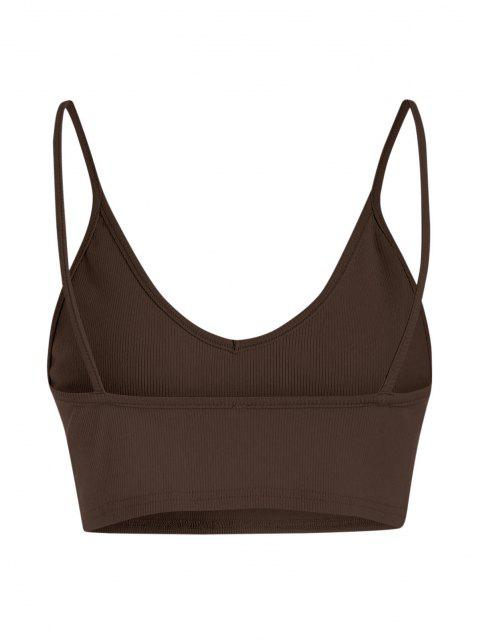 fashion ZAFUL Ribbed Cropped Backless Cami Bralette Top - DEEP COFFEE M Mobile