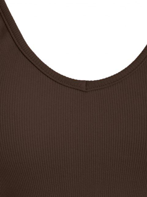 womens ZAFUL Ribbed Cropped Backless Cami Bralette Top - DEEP COFFEE L Mobile