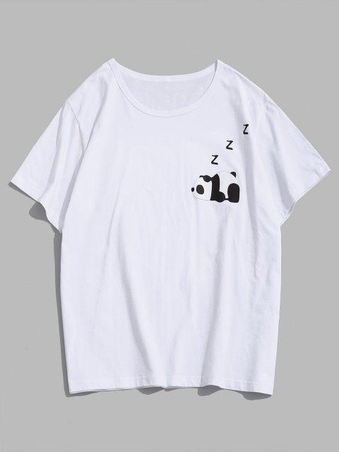 T-shirt dos Desenhos Animados de Impressão Gráfica dos Desenhos Animados de Panda - Branco S Mobile