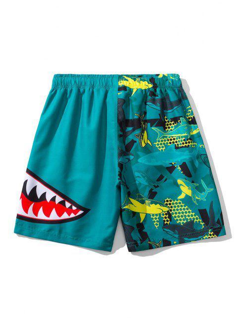 fancy Shark Pattern Graphic Drawstring Board Shorts - PEACOCK BLUE 3XL Mobile