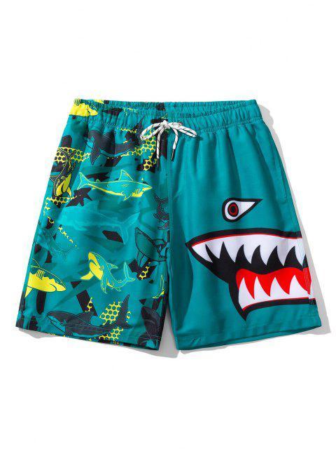 women's Shark Pattern Graphic Drawstring Board Shorts - PEACOCK BLUE L Mobile
