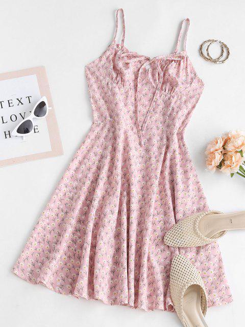Vestido Plissado Floral com Nó em Laço - Rosa Claro M Mobile