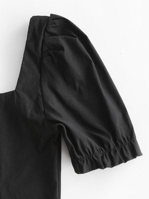 Haut de Laitière Manches Bouffantes à Col en Forme de Cœur - Noir L Mobile