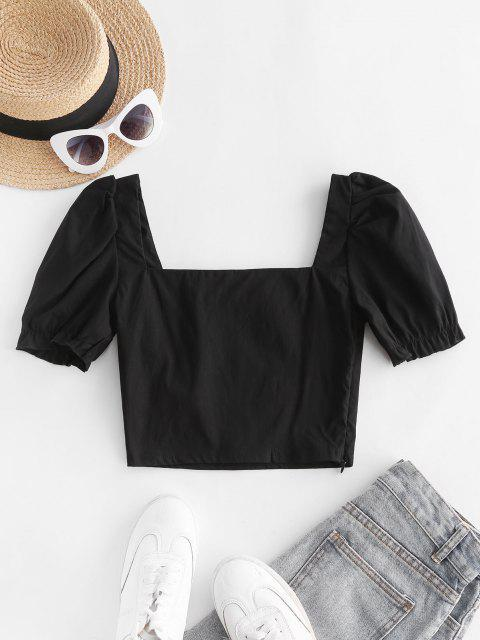 unique Sweetheart Neck Puff Sleeve Milkmaid Top - BLACK M Mobile