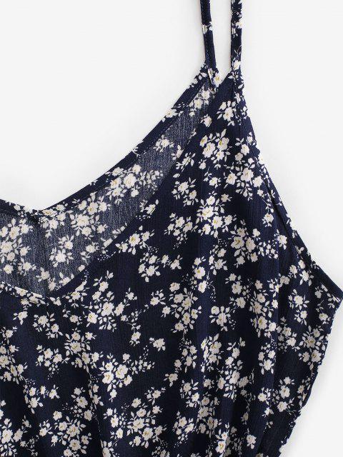best Ditsy Floral Trapeze Cami Summer Dress - DEEP BLUE L Mobile