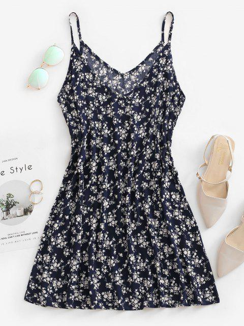 trendy Ditsy Floral Trapeze Cami Summer Dress - DEEP BLUE M Mobile