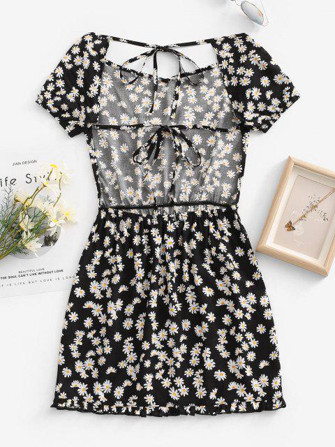 fashion Daisy Floral Cutout Backless Tied Dress - BLACK M Mobile