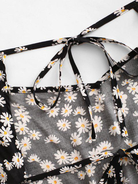 unique Daisy Floral Cutout Backless Tied Dress - BLACK S Mobile