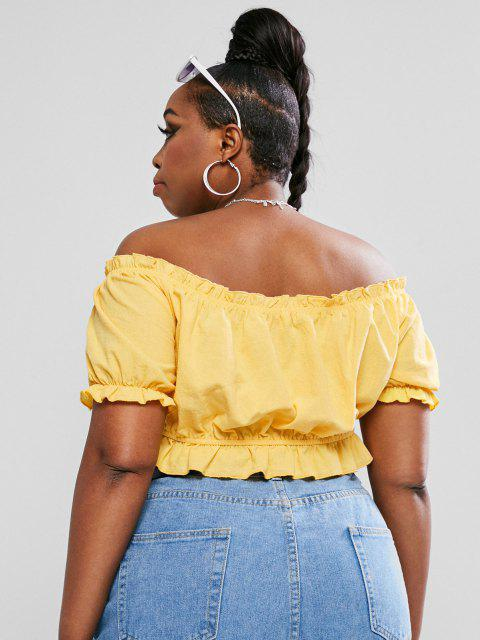 chic ZAFUL Plus Size Off The Shoulder Tie Knot Crop Top - YELLOW L Mobile