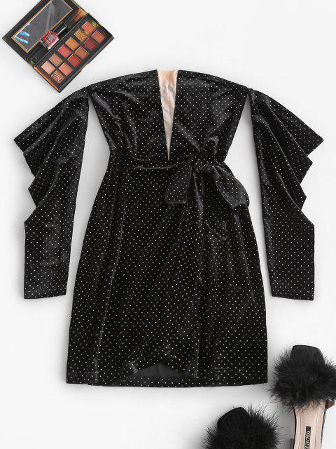 online Off Shoulder Velvet Glitter Mesh Panel Tie Dress - BLACK M Mobile