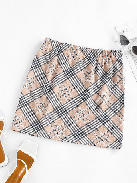 lady ZAFUL Plaid Elastic Waist Mini Skirt - LIGHT COFFEE XL Mobile