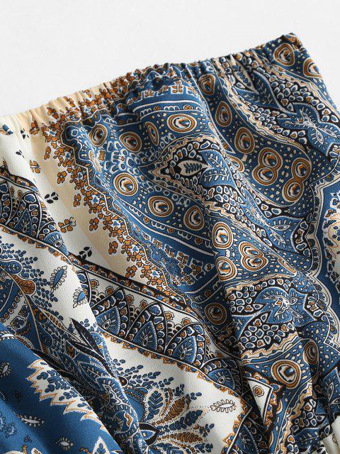 trendy Bohemian Print Bandeau Popover Romper - BLUE S Mobile