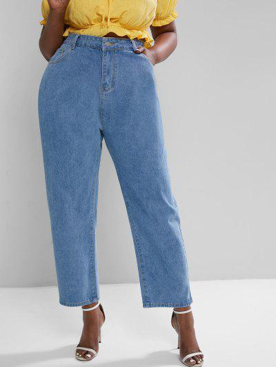 Plus Size High Waisted Zipper Fly Wide Leg Jeans - Blue L
