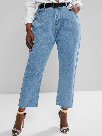Plus Size Raw Hem Tapered Mom Jeans - Light Blue 3xl