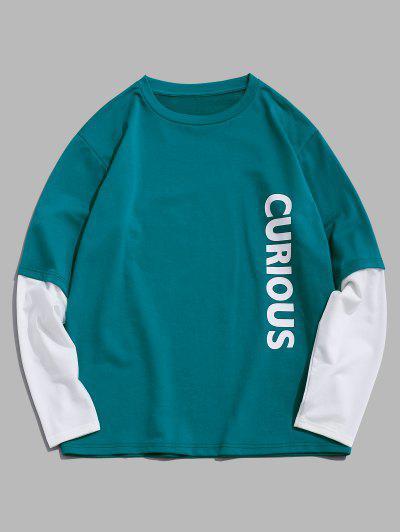 ZAFUL Letters Print Doctor Sleeve Sweatshirt - Light Green L