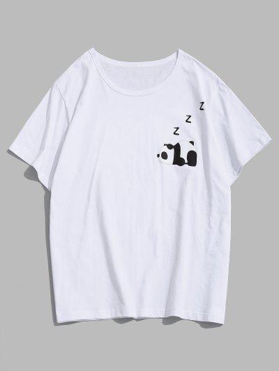 Cartoon Panda Print Graphic T-shirt - White M