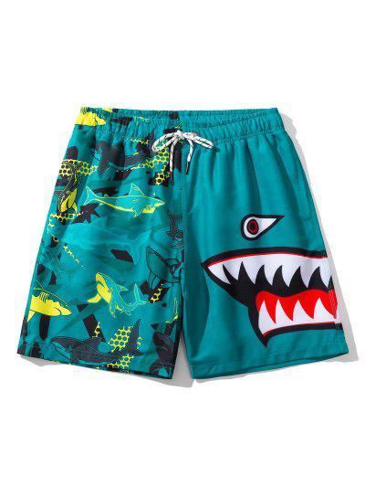 Shark Pattern Graphic Drawstring Board Shorts - Peacock Blue L