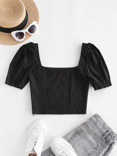 Sweetheart Neck Puff Sleeve Milkmaid Top - Black M