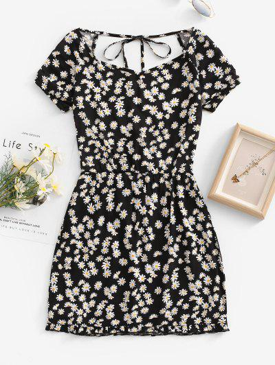 Daisy Floral Cutout Backless Tied Dress - Black L