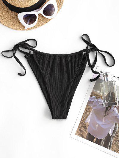 ZAFUL Tie Side Ribbed Swim Bottom - Black M