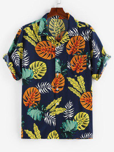 ZAFUL Tropical Leaves Print Short Sleeve Pocket Shirt - Deep Blue L