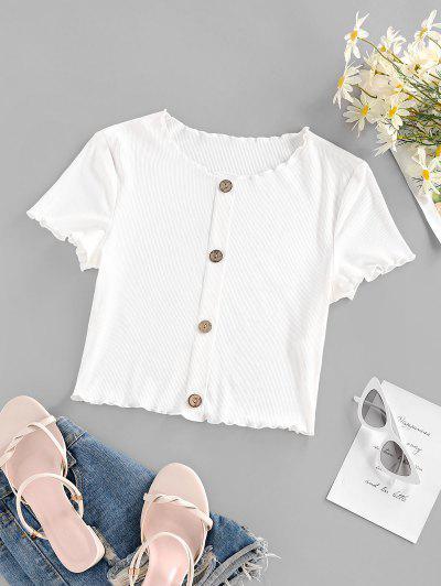 ZAFUL Ribbed Lettuce Trim Mock Button Crop T Shirt - White S