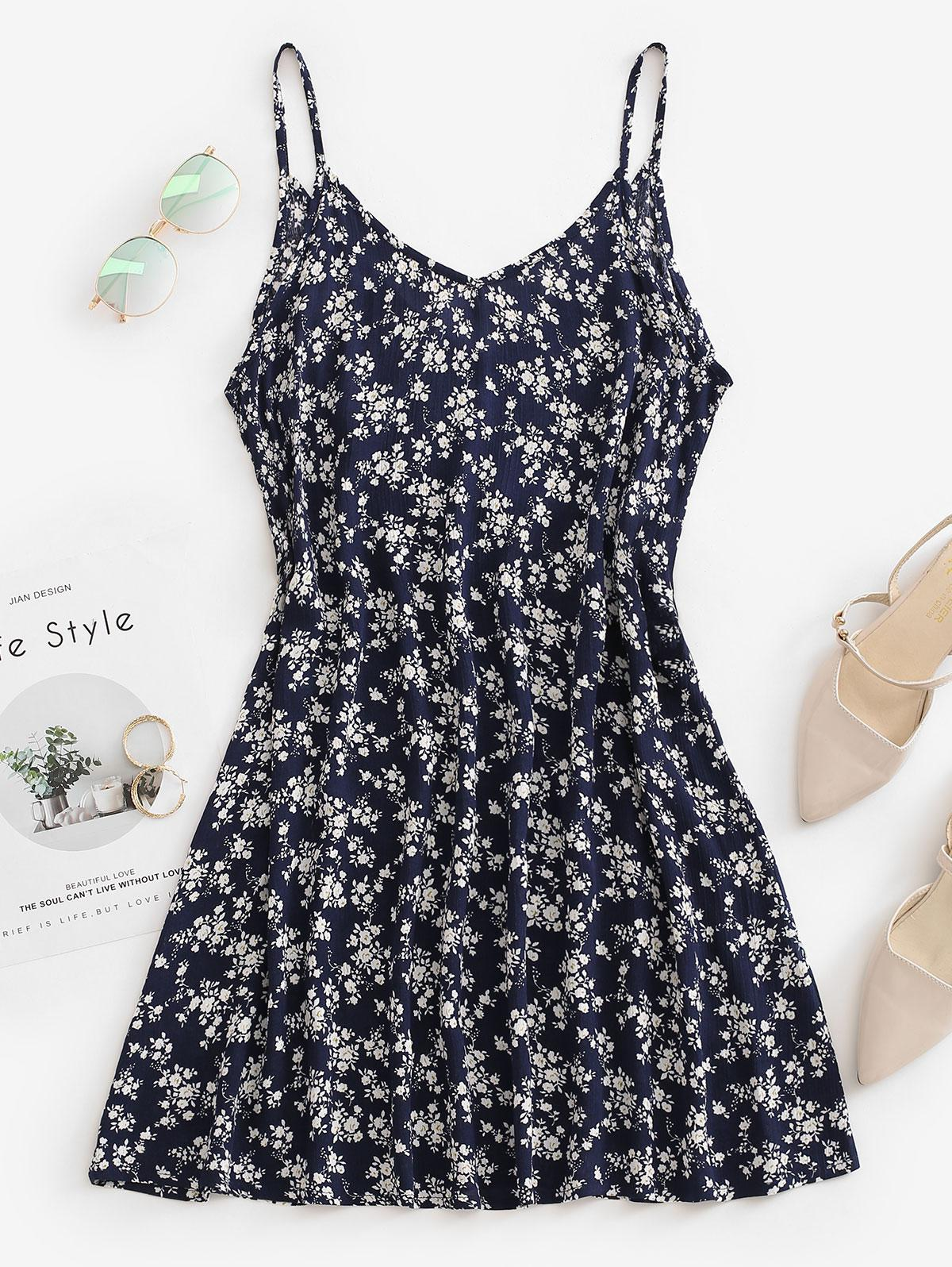 Ditsy Floral Trapeze Cami Summer Dress