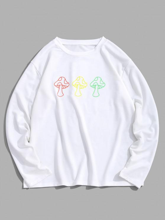 ZAFUL Cartoon Mushroom Print Pullover Sweatshirt - أبيض S
